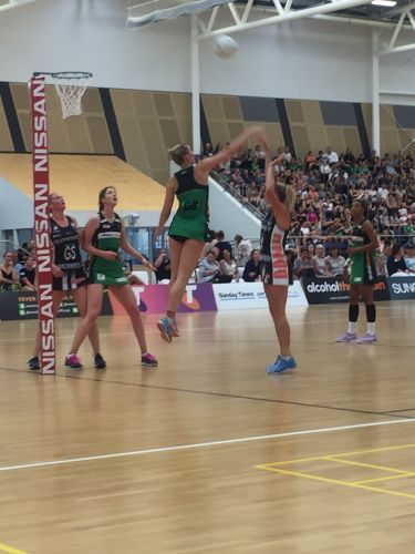 Courtney Bruce in defence against Magpies Netball.