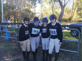 Isobel Wright, Samantha Mullane, Keely Bowling and Nyha Clifton at the 2017 Baldivis ODE representing the Pinjarra Horse and Pony club.