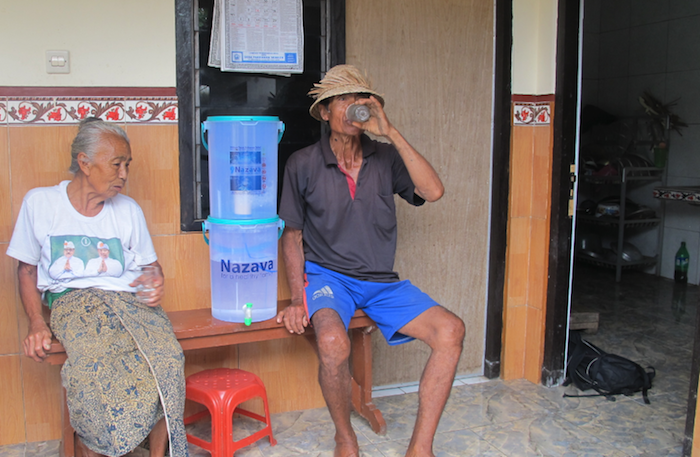 The water filtration systems being delivered to villagers in Bali.