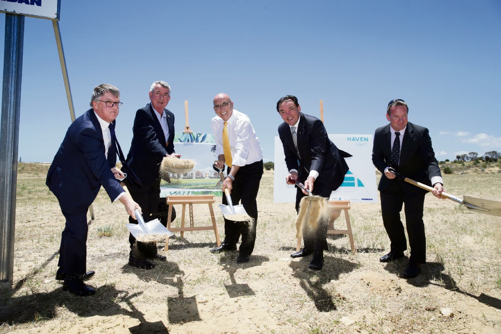 From left: Brad Prentice (Chairman Southern Cross Board), George Allingame (Managing Director Pindan), Attorney-General John Quigley, Housing Minister Peter Tinley and Nigel Hindmarsh (Department of Communities). Martin Kennealey