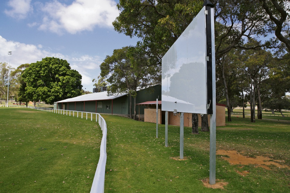 The electronic scoreboard at Wanneroo Showground. Picture: Martin Kennealey d476918