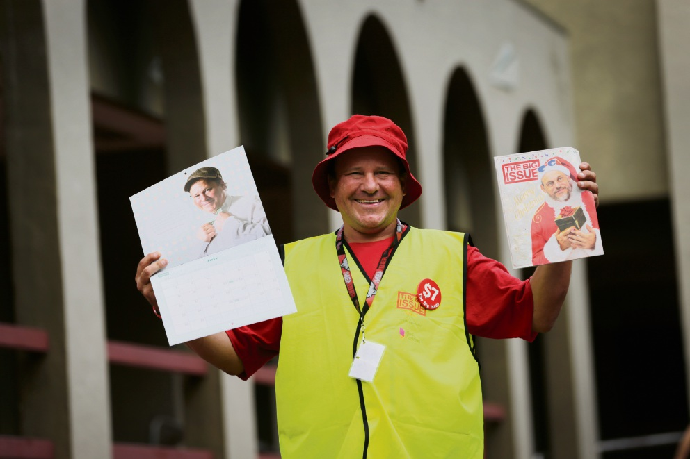 Much-loved Subi Big Issue vendor David is finishing up after six years selling the magazine - it'll be his last Christmas edition. Picture: Andrew Ritchie www.communitypix.com.au d477623