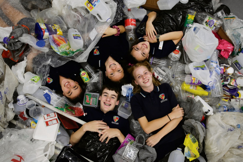 Clockwise from bottom: Joel Rynders, Natasha Scheffler, Katie Haigh, Ashleigh Ward and Magdalena McCabe. The Year 8s at Churchlands SHS have just finished up an environmental project on plastic waste. Picture: Andrew Ritchie www.communitypix.com.au   d477624