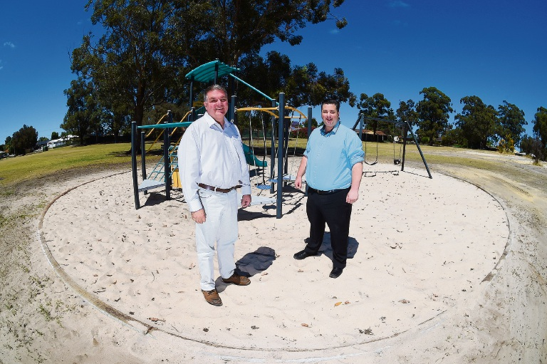 City of Gosnells mayor Glenn Dewhurst, left, with Southern River MLA Terry Healy at Charles Hook Park.