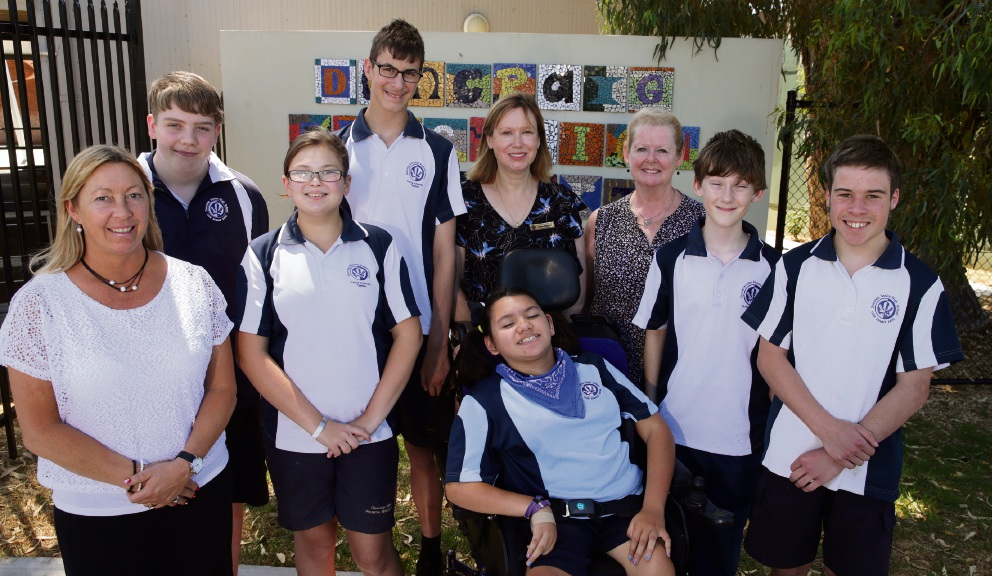 Justine Snowdon (marketing and media), John Snowball, Chevorna Slavich, Fletcher Jessett, Kaisah Glare, Joanne Kriziotis (deputy principal), Carol Clarke (principal), Nic Koina and Tom Casey. Picture: Martin Keanneley d477480