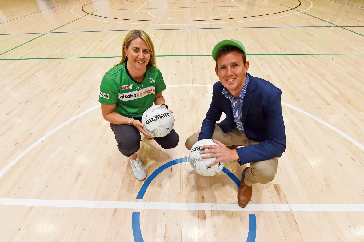 Head coach of West Coast Fever Stacey Marinkovich with City of Mandurah Mayor Rhys Williams.