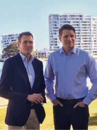 Canning MHR Andrew Hastie and Social Services Minister Christian Porter announcing the drug trial in Mandurah in August.