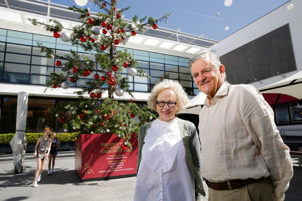 Claremont Cr Alastair Tulloch and his wife Margie with the donated tree.