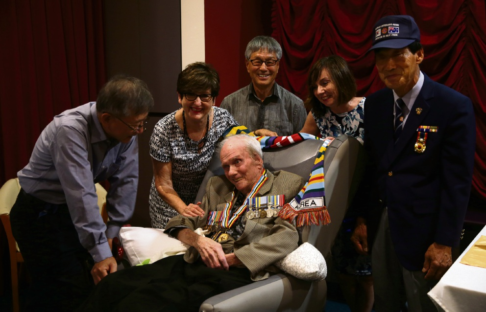 Brian Smith (Wanneroo) with Jinkil Lee (The Korean Veterans Association in WA), Fay Duda (The Honorary Consul of the Republic of Korea ),Ahn Kil-Soon (The Korean Veterans Association in WA),Brian's daughter Helen Walters (Joondalup) and James Lee (The Korean Association of Western Australia). Photo: Martin Kennealey