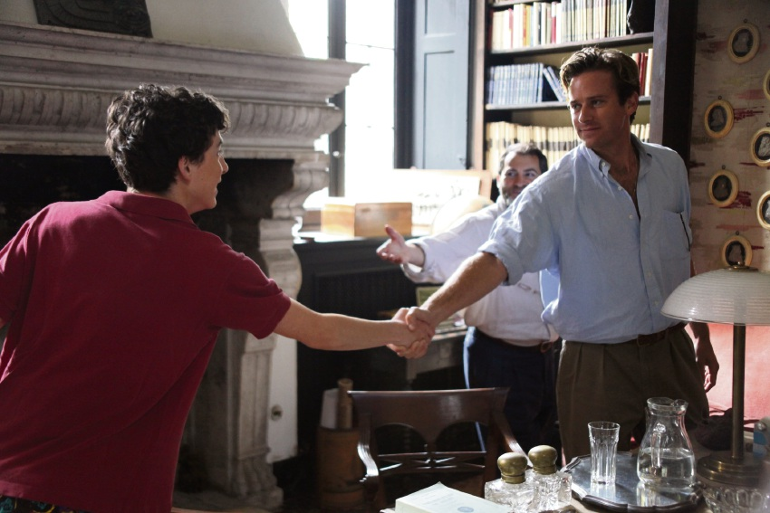 Timothe Chalamet, Michael Stuhlbarg and Armie Hammer in Call Me By Your Name.