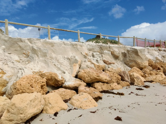 Large waves, high tide cause erosion at Quinns Beach