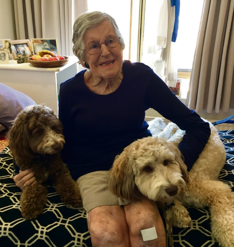 MercyCare Joondalup resident Diana Royaards with Butch and Zelda.