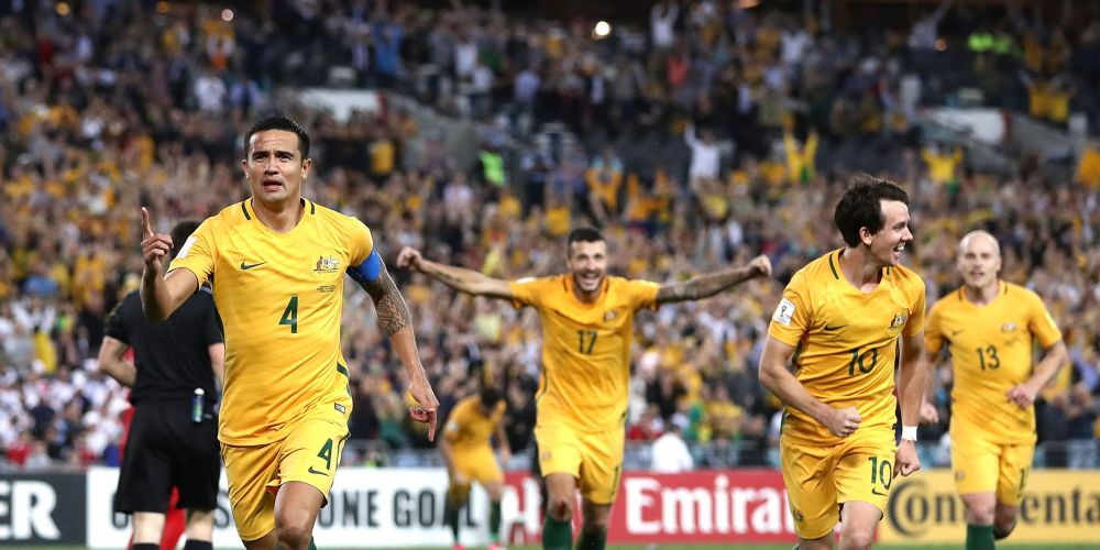 Tim Cahill of Australia celebrates after scoring his teams second goal during the 2018 FIFA World Cup Asian Playoff match between the Socceroos and Syria at ANZ Stadium on October 10, 2017 in Sydney. Picture: Ryan Pierse/Getty Images
