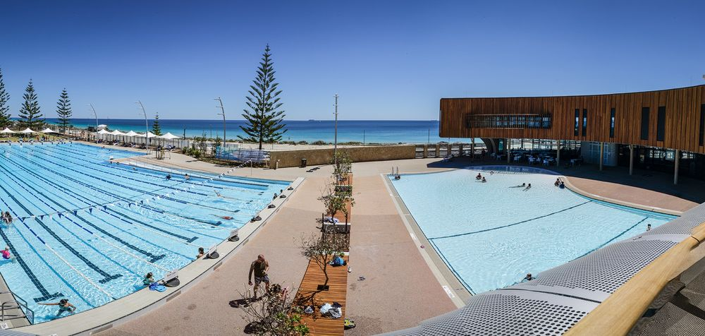 A panoramic view of the new Scarborough Beach Pool. Photo: Andrew Ritchie
