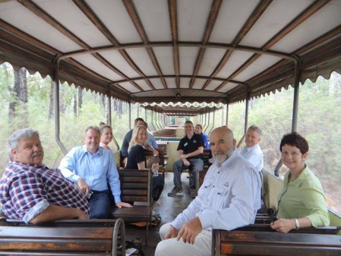 Working group representatives from Dwellingup Community Compact, Dwellingup Adventures, Mandurah and Peel Tourist Organisation and the Shire of Murray on board the Hotham Valley Railway.