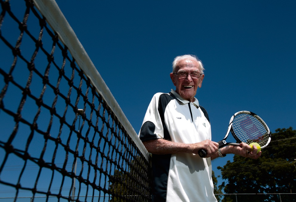 96-year-old Sam Hancock at Corinthian Park Tennis Club. Picture: Marie Nirme www.communitypix.com.au d477834