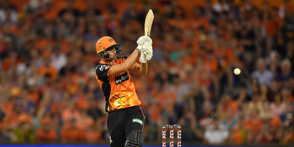 Tim David making his Perth Scorchers debut(Photo by Stefan Gosatti/Getty Images)