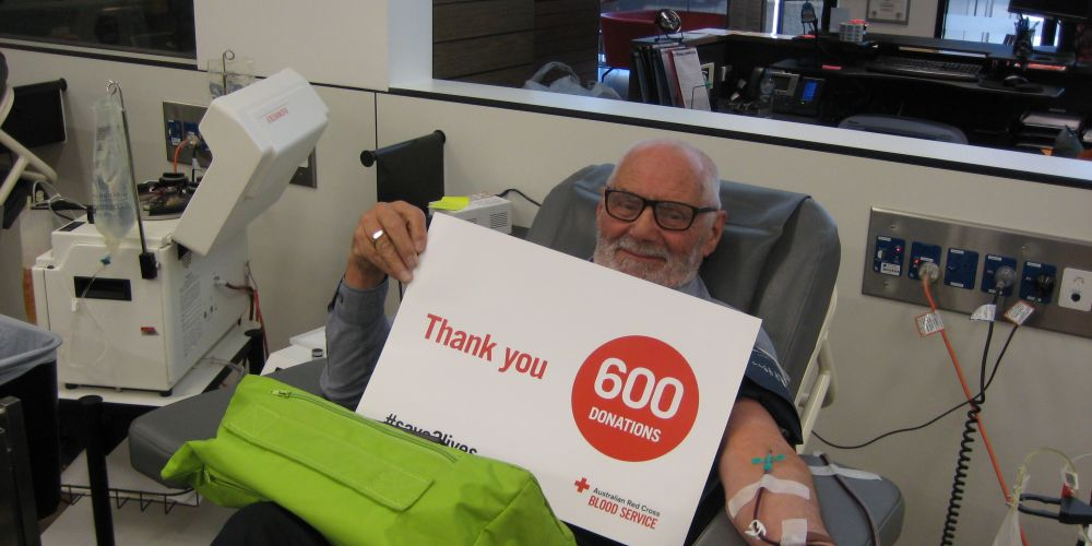Theo Bekkers giving his milestone 600th blood donation.