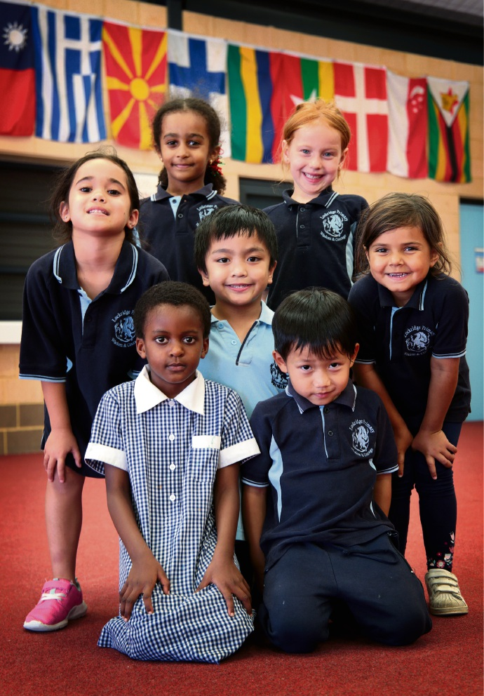 Back: Tarahlee McGill (6), Helana Zewdie (5), Azel Aguilar (5), Haeley Leahy (5) and Marley Claybrook (5).  Front: Gloria Maharo (5) and Gay Doh Soe (4).  Lockridge Primary School has many different nationalities among its students. Picture: David Baylis www.communitypix.com.au d477530