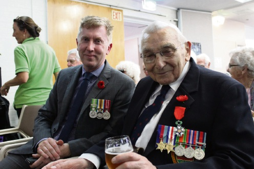 RSL WA representative Gavin Briggs and French National Order of the Legion of Honour recipient Kenneth Burt.