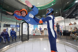 Catherina Lechner at the IFly Indoor Skydiving Centre. Picture: Skydiving seniors