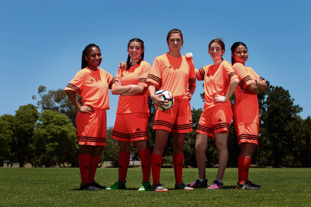 Part of Centenary FC women's team: Delilah Kaupa, Nicolina Ierino, Claire Wack, Shaia Lebrun and Nicki May. Picture: Marie Nirme www.communitypix.com.au d477882