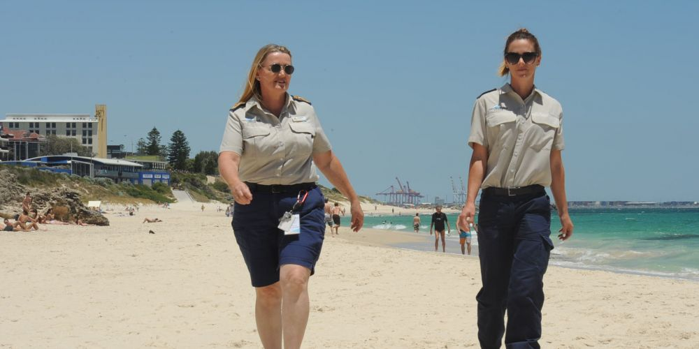 478016p Cottesloe rangers (l-r) Lisa Squiers and Jessica Rodwell want dog owners to remember dog beaches are used by all of Perth.