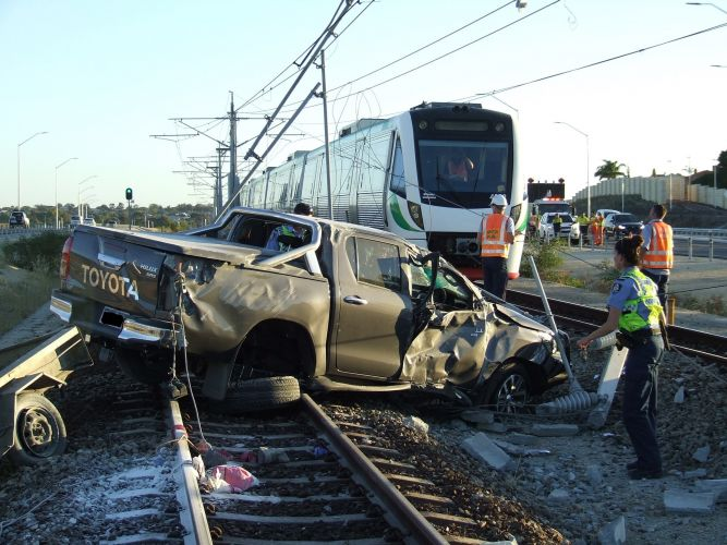 The crash that cancelled train services between Joondalup and Butler. Picture: Twitter.