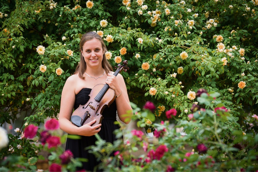 Rebecca Glorie will play the violin at the Zig Zag Culture Centre and UWA concerts.