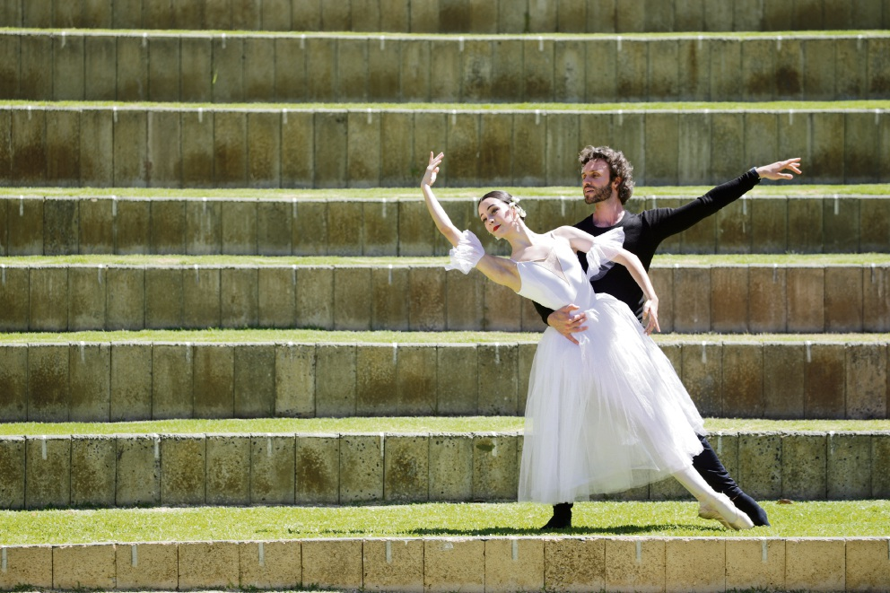 Dancers Sergey Pevnev and Madeline Gill (16) Perth City Ballet Giselle at the Quarry Amphitheatre. Picture: Andrew Ritchie.