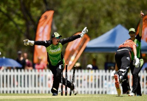 The Scorchers' Mathilda Carmichael is run out on the last ball of the day. Picture: Getty Images.
