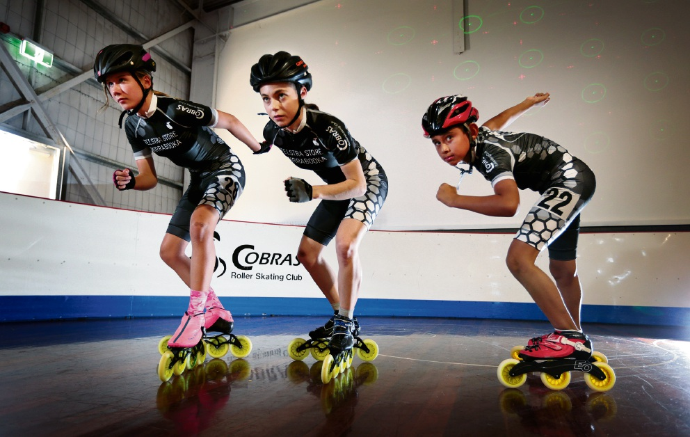 Inline speedskaters Asha Hickford, Kayleen Vance and Marcin Bankowski.  Picture: David Baylis www.communitypix.com.au   d477977