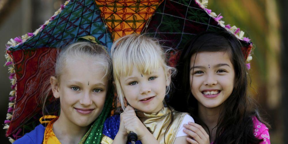 Ella Morris (9) and sister Abby Morris (4) Woodbridge and Gaby Mosbergen (8) Morley.