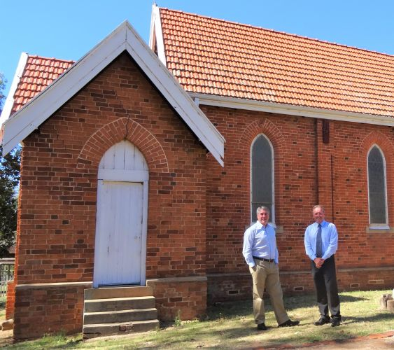 Murray Shire president David Bolt and chief executive Dean Unsworth outside the historic church.