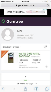 A screenshot of what the Hugheses thought was a Kia Rio 2015 Hatchback Sportiva on Gumtree.