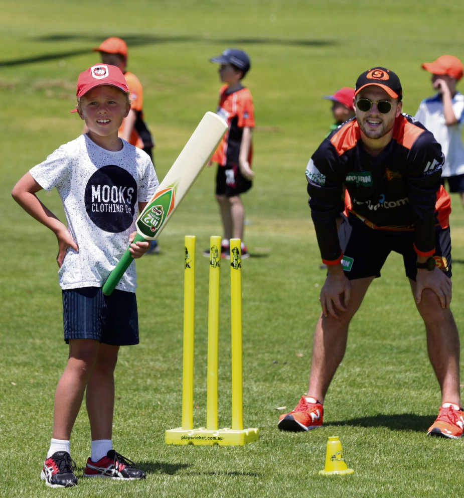 Scorchers player Josh Inglis with Kian Cartwell (8-Padbury). Picture: Martin Kennealey d478114