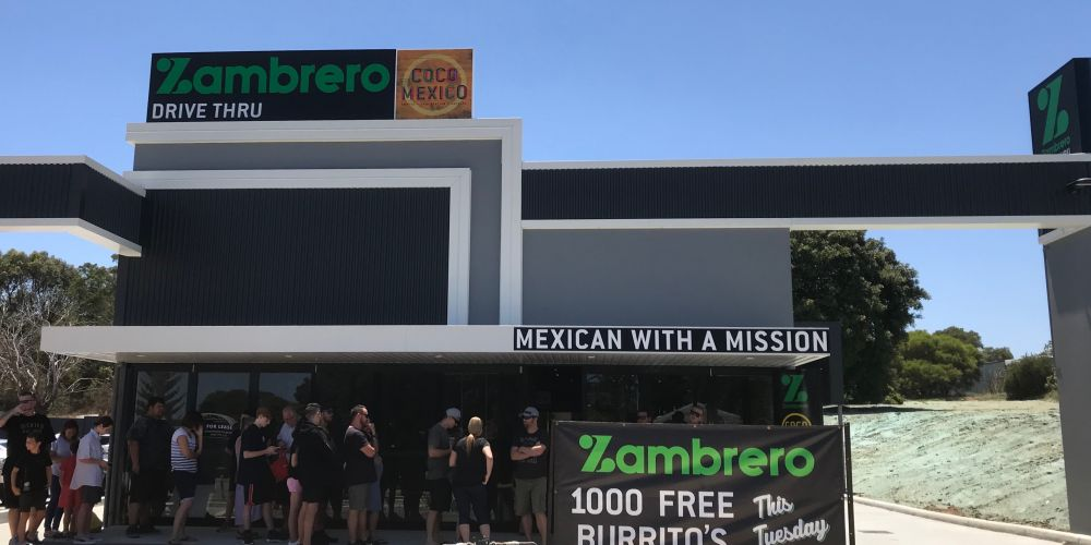 A new Zambrero store opens in Wanneroo, giving out 1000 free burritos to hungry Mexican food lovers in celebration.