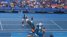 Isabelle Criddle tossing the coin before the Hopman Cup men's final.