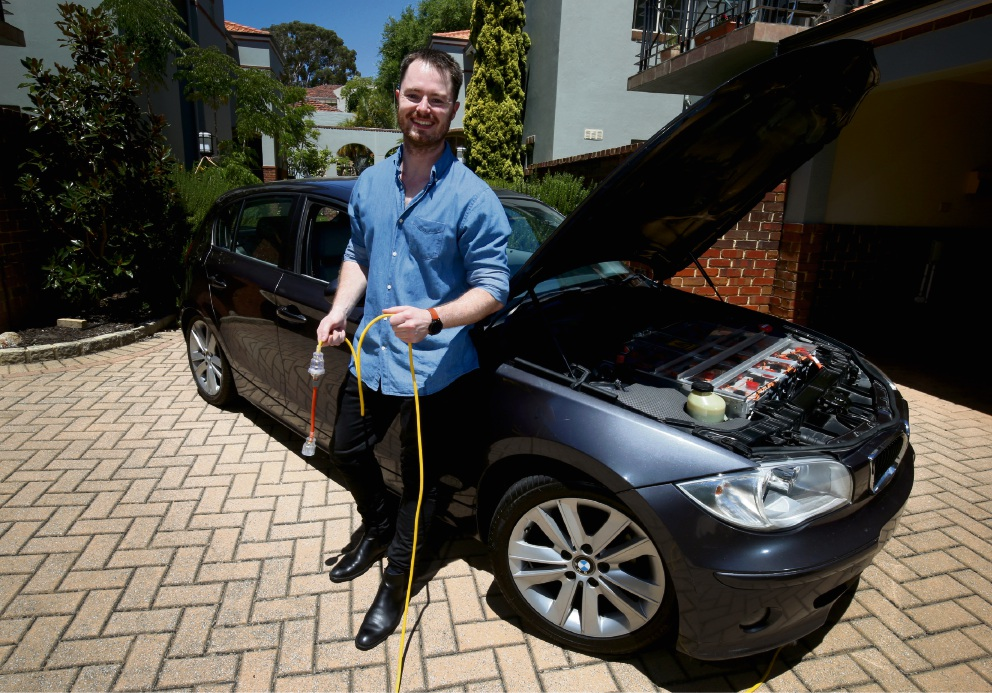 South Perth resident Guy Bridge has converted a BMW 1-Series into a full electric car.