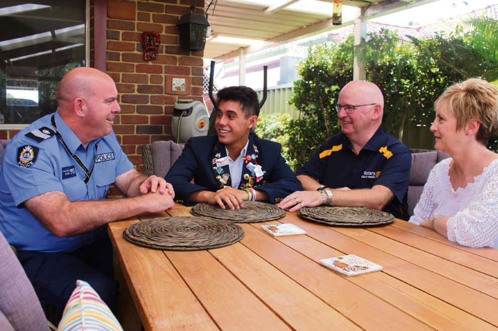 Willetton Rotary international director Paul Daly, exchange student Cole Chihara with host family, Paul and Gill Todd.