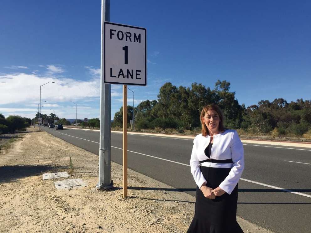 Transport Minister Rita Saffioti on the side of Reid Highway. Picture: David Baylis www.communitypix.com.au