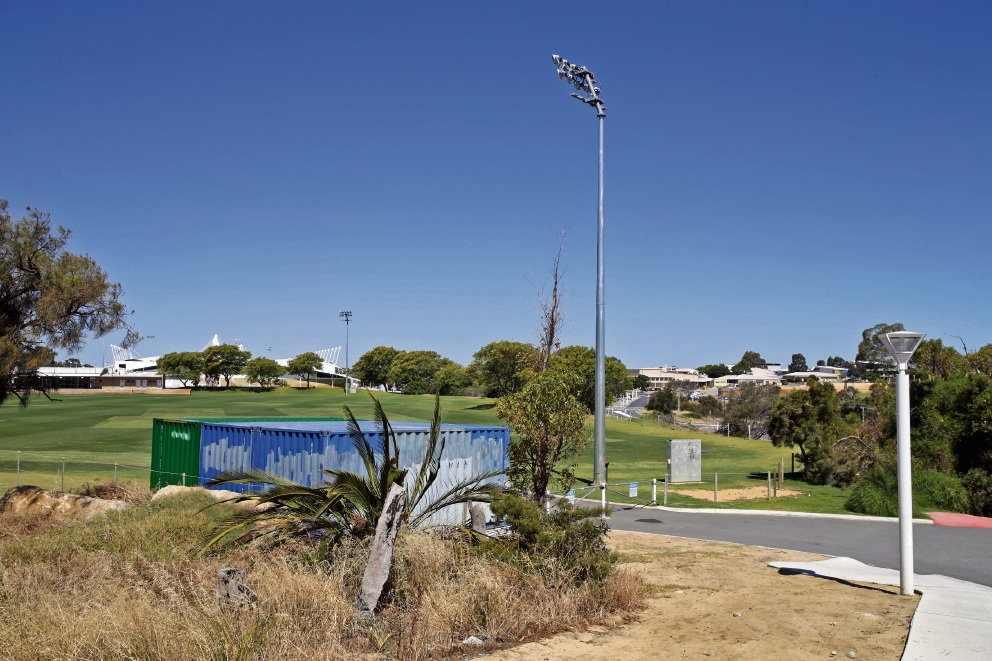 The proposed telecommunication tower site at HBF Arena. Photo: Martin Kennealey