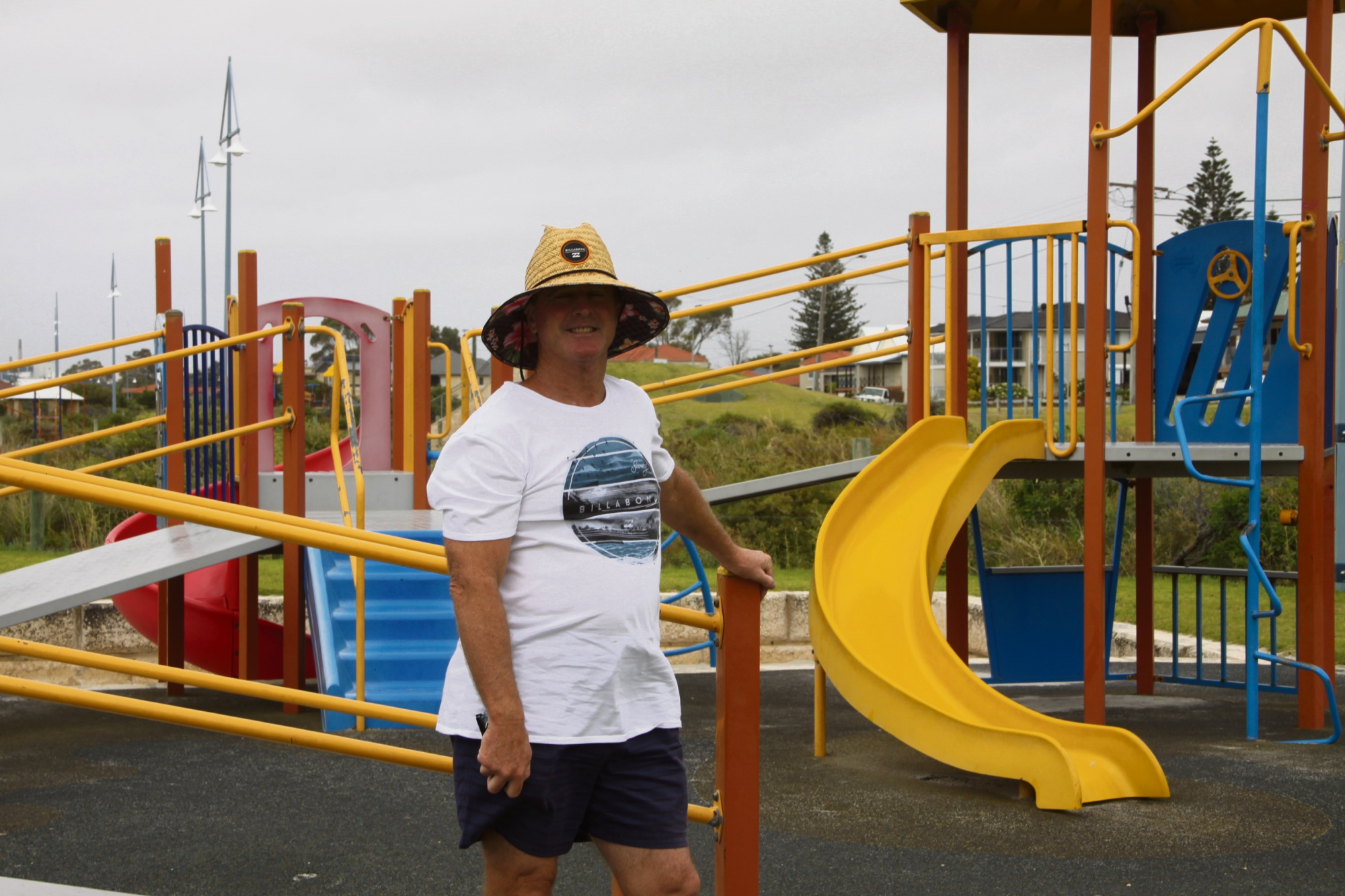 Resident Tim Kenny bemoans the lack of shade at play equipment in the City's playgrounds.