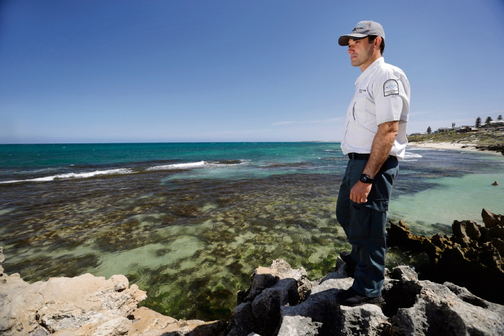 Fisheries and Marine officer Dale Stanton was among the patrols overlooking abalone catchers on reefs on Saturday. Picture: Andrew Ritchie.
