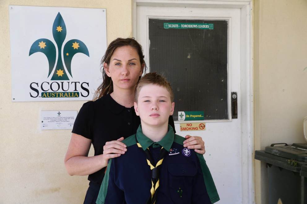 Aleisha Godenzie and her son Dylan (11). Picture: Martin Kennealey www.communitypix.com.au d478247
