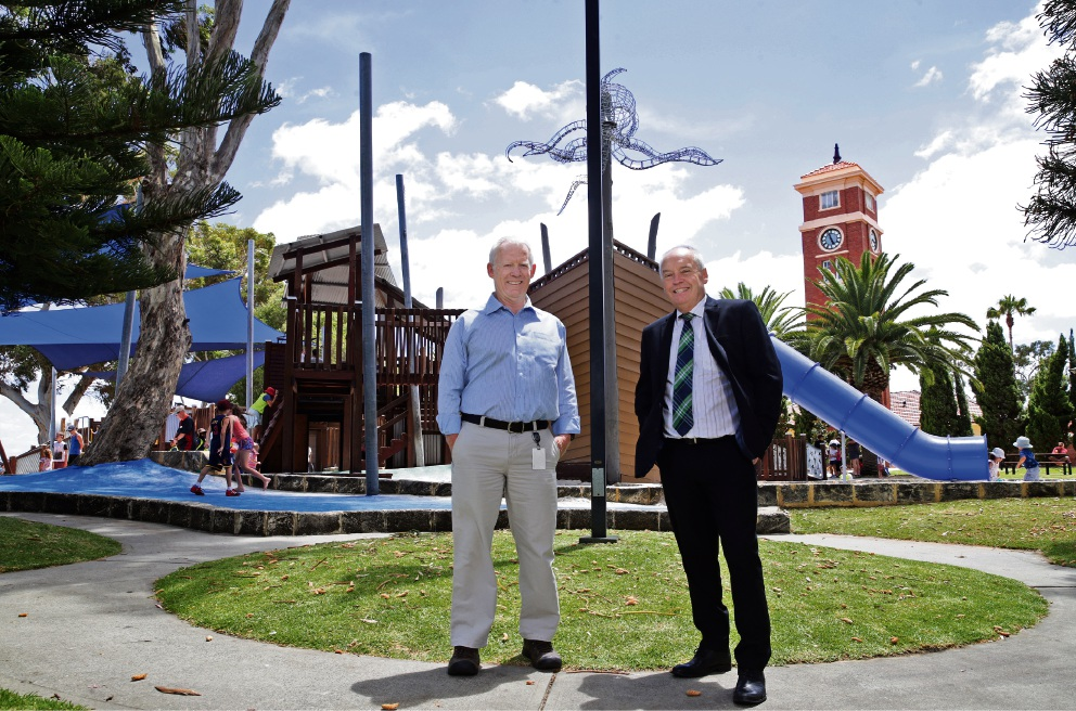 City of Melville project coordinator Ian Davis with Melville Mayor Russell Aubrey at the refurbished playground at Heathcote.
