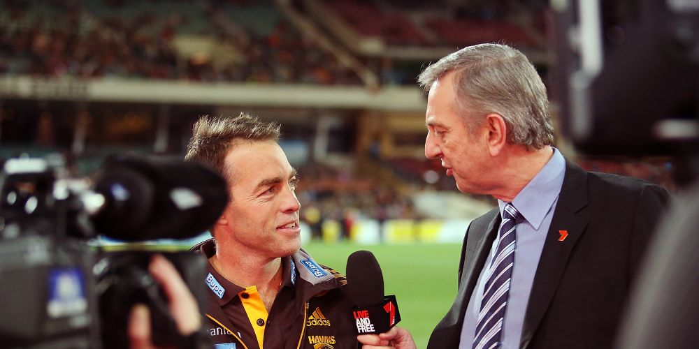 Dennis Cometti (right) had been honoured at Perth's new stadium. Photo: Getty