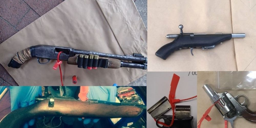 Some of the guns seized by police