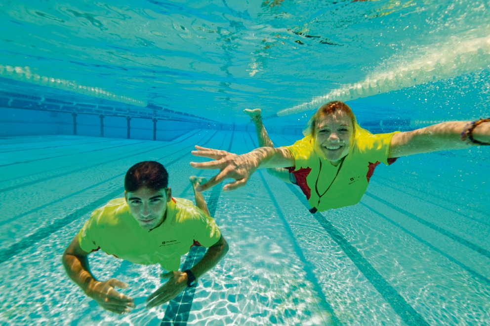 Stirling lifeguards Jordan Pizzata and Dawn Mason test out the new pool. Picture: Andrew Ritchie  d476782