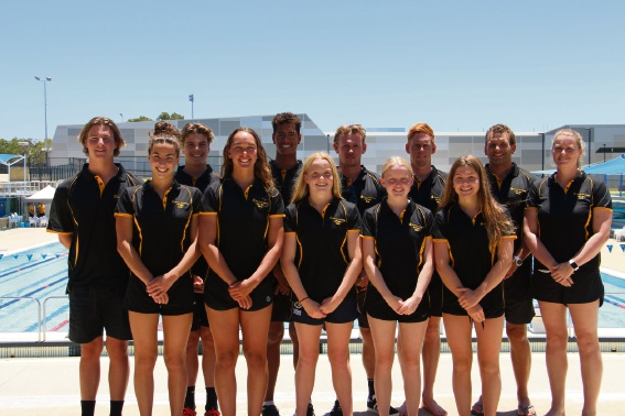 WA state team: Lachlan Meldrum (left back row), Harrison Hynes, TJ Chong Sue, Josh Windsor, Jake Smith, Adam Moore, Alicia Anderson, Maddi Howe (left front row), Madeline Thompson, Chalise Pratt, Dayna Tindall and Lily Moore.